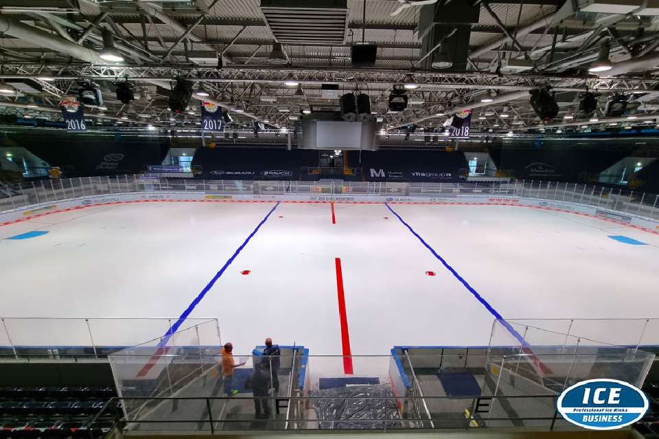 New ice colors in the Olympic ice stadium in Munich